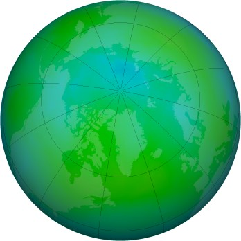 Arctic ozone map for 1997-08
